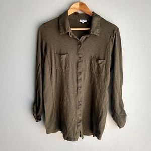 Splendid Olive Green Button Down